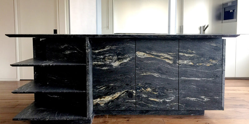 black marble kitchen island